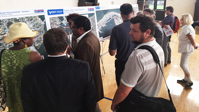Residents received an up-close look at the proposed path for roadway improvements and a bored-tunnel and VDOT project engineers were able to address their right-of-way questions.